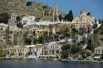 Thumbnail View of the colourful ochre houses Island of Symi Greece