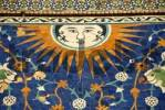 Thumbnail Face of the sun with rays as artful decorative maiolica on the portal of Nadir Divan-Begi Madrasah Bukhara Uzbekistan