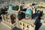 Thumbnail View over the blue cupolas of Mir-i Arab Madrasah and roofs of the city from minaret Kalon Bukhara Uzbekistan