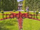 Thumbnail Germany Bavaria Upper Bavaria Linderhof Castles Parkgrounds Flower bed Starlike red Flowers Tourists
