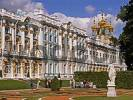 Thumbnail GUS Russia St. Petersburg 300 years old Venice of the North Zarskoje Selo Puschkinos Castle Katharinas Palace Park Grounds with Marble Figures golden Domes of the Palace Church founded in Middle o