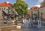 Thumbnail BRD Germany Thüringen Freestate Thüringen Suhl Centre for Hunting and Sporting Arms Landmark of the City the Memorial of the Armorer City Fountain with Hunting Scene at the Pedestrian Zo