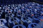 Thumbnail Blue plastic canisters jerry cans in rows