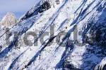 Thumbnail Canazei Trentino Italy Valle di Fassa skiing region Ciampac snowy rocks of of Collaz mountain