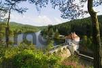 Thumbnail Höllenstein Hoellenstein storage lake and power house at the river Regen near Viechtach in the Bavarian Forest Upper Palatinate Bavaria Germany