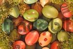 Thumbnail coloured Easter eggs in the moss