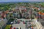 Thumbnail view from the clock tower to the main square and to the St Marien church of the town of Enns Upper Austria
