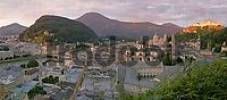 Thumbnail view from the Mönchsberg to the church St Johann on the Imberg and the capuchins monastery town of Salzburg Austria