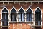 Thumbnail venezian house front with windows, venice, italy