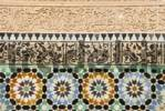 Thumbnail Artful wall with colourful glazed tiles and stucco Medersa Ali Ben Youssef medina Marrakech Morocco