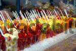 Thumbnail different fruits in plastic cups and straws, Venice, Veneto, Italy