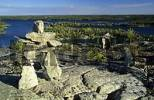 Thumbnail cairn or stone man or inukshuk at the Hidden Lakes, Ingraham Trail, Northwest Territories, Canada