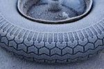 Thumbnail Frost-covered wheelbarrow wheel