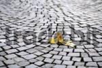 Thumbnail Banana peel on cobblestones, symbol for accident risk