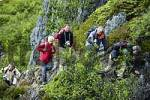 Thumbnail MR Hikers on a rough coastal path Flakstadoya Lofoten Norway