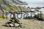 Thumbnail Rocky coastal landscape with pile of stones near Nusfjord Flakstadoya Lofoten Norway