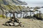 Thumbnail Rocky coastal landscape with pile of stones near Nusfjord Flakstadoya Lofoten Norway