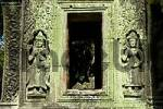 Thumbnail Picturesque decayed reliefs of Apsera temple dancers covered with lichen Ta Prohm Angkor Siem Reap Cambodia