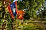 Thumbnail Lao and communist sovjet flag Muang Khong Si Phan Don Laos