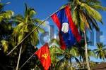 Thumbnail Lao and communist sovjet flag with coconut palms Ban Khon Don Khon Si Phan Don Laos