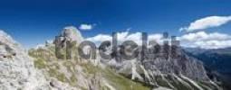 Thumbnail Panoramic view of the Rosengarten Massif with the peak of Mt. Rosengarten, Tiers, Bolzano-Bozen, Italy, Europe