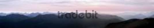 Thumbnail Sunset panorama viewed from the Blauberg ridge, Tirol, Austria, Europe