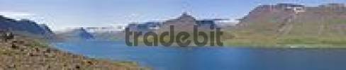 Thumbnail View over Skutulsfjoerur fjord, Isafjoerur, Western Fjord, Iceland, Atlantic Ocean