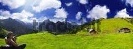 Thumbnail Hiker, panoramic view of a verdant alpine pasture set against a deep blue sky, Ahornboden, Tirol, Austria, Europe