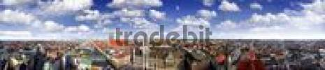 Thumbnail Panoramic view of Munich, clouds in a blue sky, Munich, Bavaria, Germany, Europe