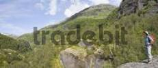Thumbnail Hiker standing at a lookout point, Aurlandsdalen Valley, Norway, Scandinavia, Europe