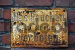 Thumbnail weathered prohibition sign at a clay brick wall, smoking, coking plant Hansa, Westfaeli industrial museum, route of the industrial culture, industrial monument, Dortmund, Ruhr district, Ruhrpott,