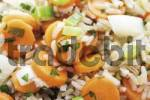 Thumbnail Vegetarian rice dish: carrots, leek and long-grain rice, image-filling