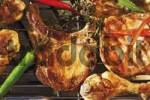 Thumbnail Ourdoor barbecue with barbecue meat - chop, cutlet, drumstick, capsicum and herbs