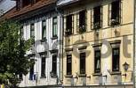 Thumbnail facades of historic houses in Skofja Loka, Gorenjska region, Slovenia