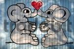 Thumbnail Elephants in love, painted on garage door