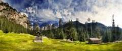 Thumbnail Panoramic shot: idyllic scenery, wayside cross and Alpine cabin, San Cyprian, Tiers, Bolzano-Bozen, Italy, Europe