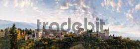 Thumbnail Panoramic view of the Alhambra, Sierra Nevada in the background, Granada, Andalusia, Spain, Europe