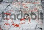 Thumbnail People, animals and viking ship, rock painting, rock art at Alta, Norway, Scandinavia