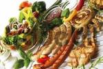 Thumbnail Barbecue: grilled meats including Polish sausages, Nuremburg bratwurst sausages, cutlets, assorted dips and a mixed salad