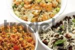Thumbnail Rice varieties in bowls, Djuvec rice, dried tomato rice, vegetable rice, long grain rice and wild rice