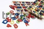 Thumbnail Wooden alphabet, letters and numbers in and beside tray