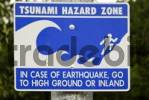 Thumbnail Tsunami hazard zone, warning sign, western coast of Alaska, USA