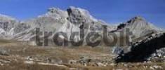 Thumbnail Autumnal mountain massif near Groeden, Groednerjoch, Dolomites, Bolzano-Bozen, Italy, Europe