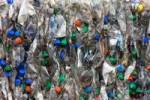 Thumbnail Colourful crushed, compacted plastic bottles for recycling
