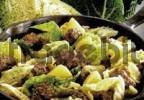 Thumbnail Chopped savoy cabbage and meatballs in a fry pan