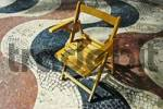 Thumbnail chair standing on a tricoloured tricolored mosaic from marble tiles, Explanada de Espana, shopping promenade, Alicante, Spain