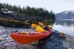 Thumbnail Sea kayak on the shore, evening light, Pacific Coast, Prince William Sound, Chugach National Forest, Alaska, USA