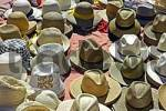 Thumbnail different kinds of hats at a stand, street market, Altea, Costa Blanca, Spain