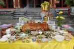 Thumbnail Sacrificial roast piglet outside a temple in the emperors city of Hue, UNESCO World Heritage Site, Vietnam, Asia