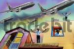 Thumbnail COMPOSING: facades, with aeroplanes, backyard, Munich, Schwabing